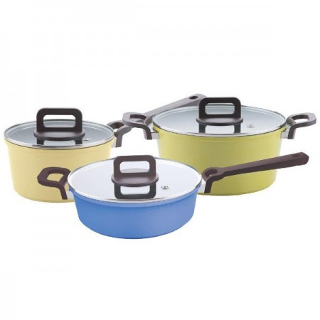 Neoflam Family Plus 3 piece set (yellow/green/blue)