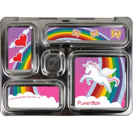 PlanetBox Rover Kit RAINBOW UNICORN (Box, Containers, Magnets, Carry Bag)