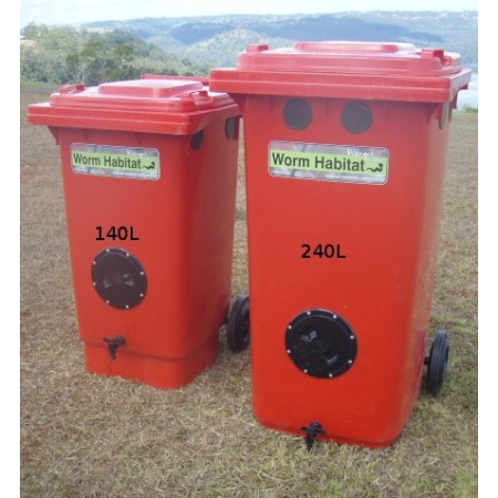Worm habitat 140L wheelie bin kit with 1000 worms