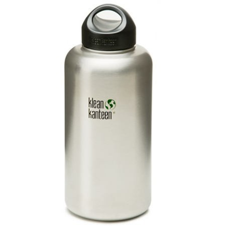 Klean Kanteen wide mouth water bottle 64oz 1.9L - brushed silver