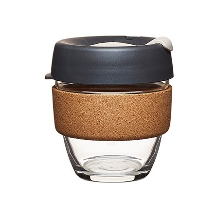 KeepCup small glass cup cork band 8oz (227ml) - dark grey