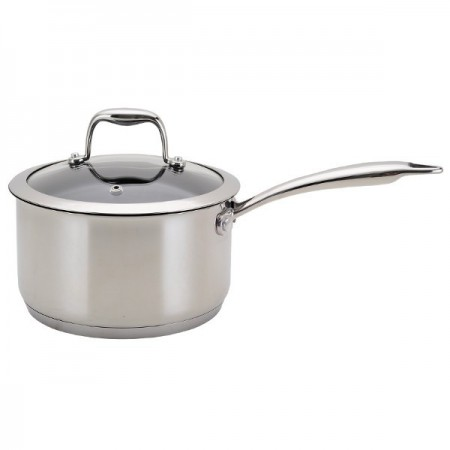 Neoflam 20cm non stick sauce pan - stainless steel with glass lid