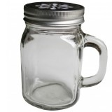 Mason jar with handle 340ml 12oz regular mouth daisy lid