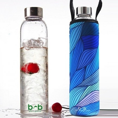 BBBYO Glass Water Bottle with cover 750ml - Tide