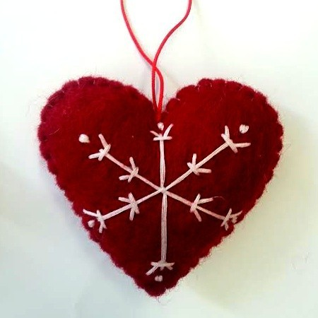 Fairtrade felt decoration - heart with stich snowflake