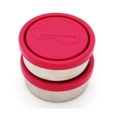 Kids Konserve Small 5oz Round Stainless Steel Containers (2) - magenta