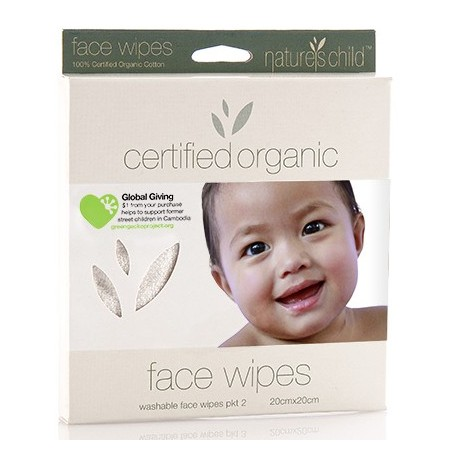 Nature's Child reusable face wipes (certified organic cotton) 2 pk