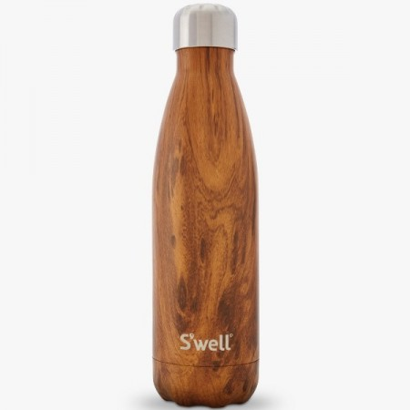 S'well Teak Wood Insulated stainless steel Water Bottle 500ml