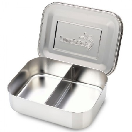 LunchBots Medium Stainless Steel Lunch Box - Duo Silver