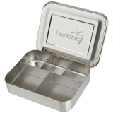 LunchBots Large Stainless Steel Lunch Box - Cinco (5-Section) Silver