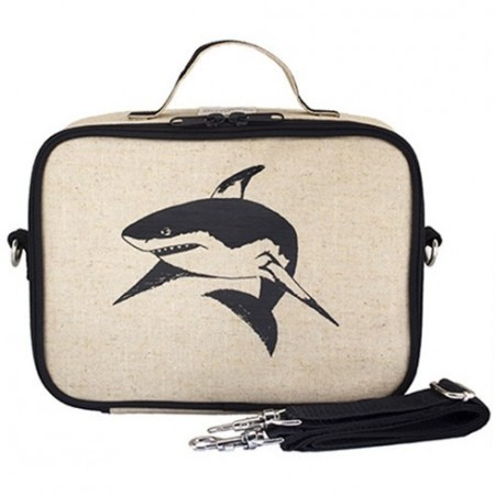 SoYoung Insulated Raw Linen Lunch Box - Black Shark