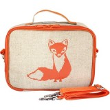 SoYoung insulated lunch box - orange fox raw linen