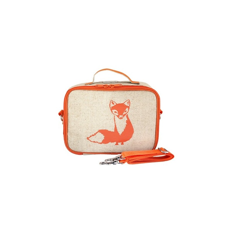 SoYoung Raw Linen Insulated Lunch Box - Orange Fox