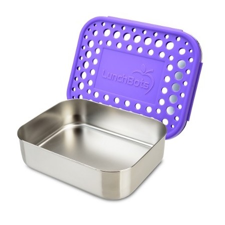 LunchBots Medium Stainless Steel Lunch Box - Uno Purple Dots