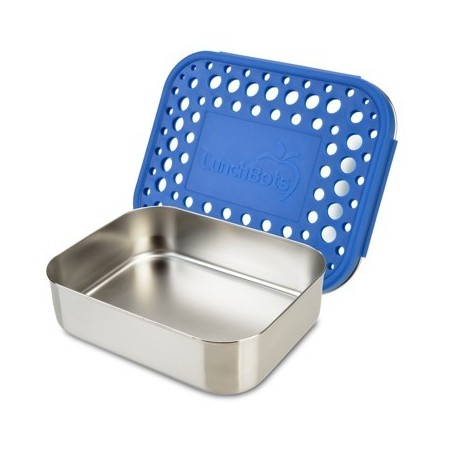 LunchBots Medium Stainless Steel Lunch Box - Uno Blue Dots