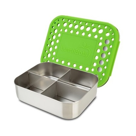 LunchBots Medium Stainless Steel Lunch Box - Quad Green Dots