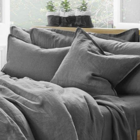 Pure Linen Double Quilt Cover Set - Storm