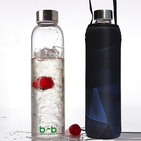 BBBYO Glass Water Bottle with cover 750ml - prism