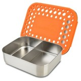 LunchBots Medium Stainless Steel Lunch Box - Duo Orange Dots