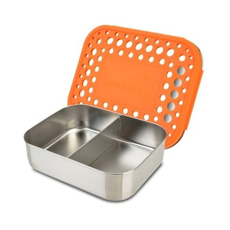 LunchBots stainless steel lunch box - duo dots orange