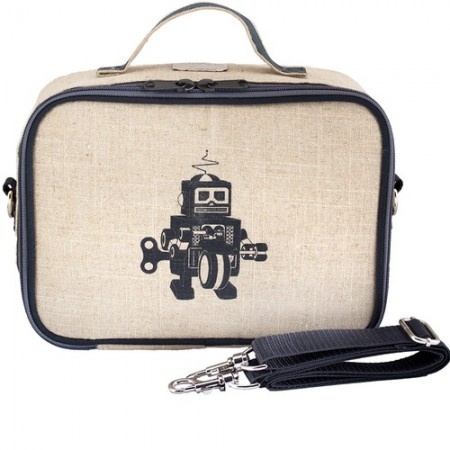 SoYoung Raw Linen Insulated Lunch Box - Grey Robot