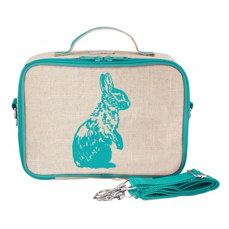 SoYoung Raw Linen Insulated Lunch Box - Aqua Bunny