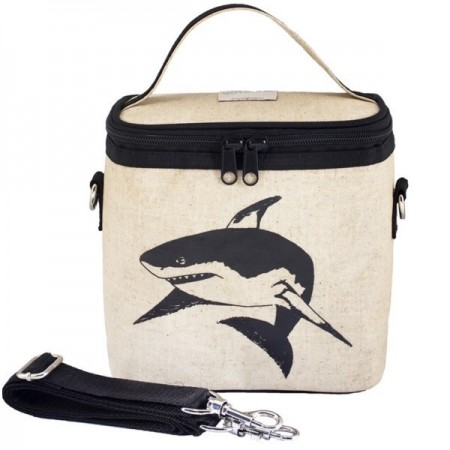 SoYoung Small Raw Linen Cooler Bag - Black Shark