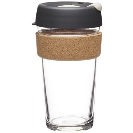 KeepCup large glass cup cork band 16oz (454ml) - dark grey