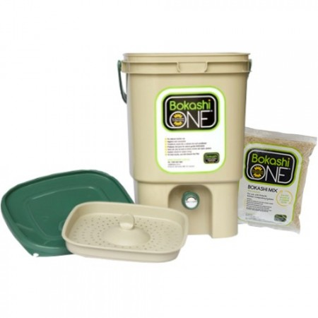 Bokashi compost bin KIT - tan & green