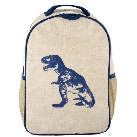 SoYoung raw linen toddler backpack (single) - blue dinosaur