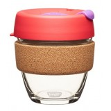 KeepCup small glass cup cork band 8oz (227ml) - sumac