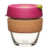 KeepCup small glass cup cork band 8oz (227ml) - cinnamon