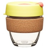 KeepCup small glass cup cork band 8oz (227ml) - saffron