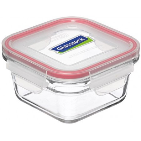 Glasslock oven safe container 405ml square red