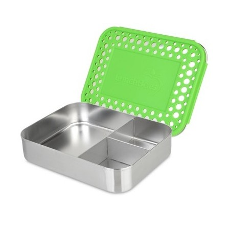 LunchBots Large Stainless Steel Lunch Box - Trio Green Dots