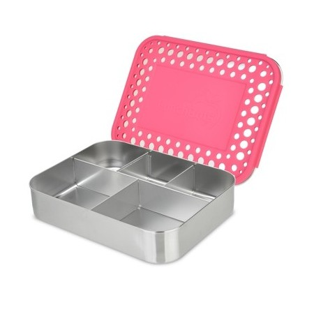 LunchBots Large Stainless Steel Lunch Box - Cinco (5-Section) Pink Dots
