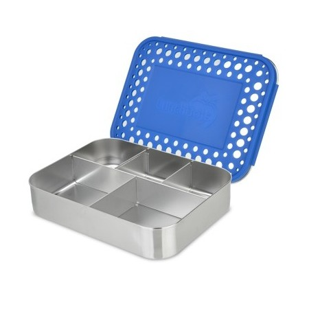LunchBots Large Stainless Steel Lunch Box - Cinco (5-Section) Blue Dots
