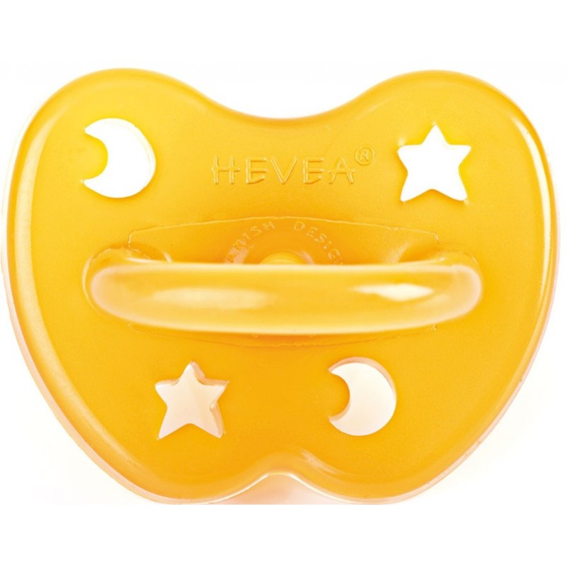 Hevea Natural Rubber Soother - Orthodontic 0-3 months star and moon