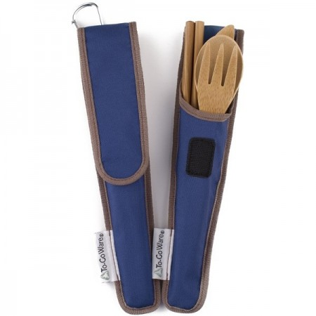 Chico-To-Go Bamboo Cutlery Set - Blue Pouch