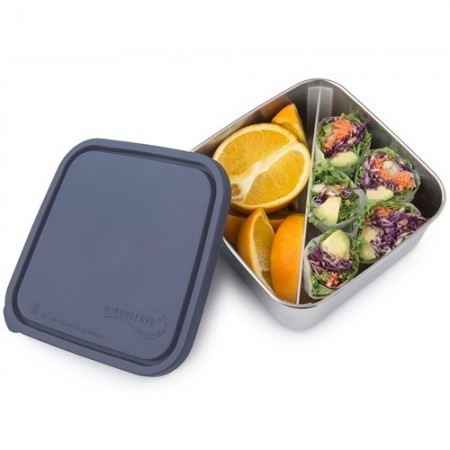 U Konserve Large To-Go Square Container with Divider - Ocean