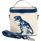 SoYoung small insulated cooler bag - Blue Dinosaur  raw linen