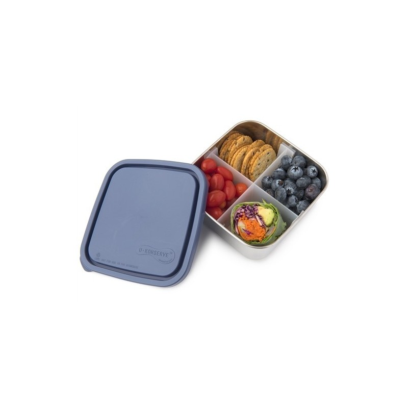 U Konserve To-Go Square Container with Divider 30oz/0.9L Medium - Ocean
