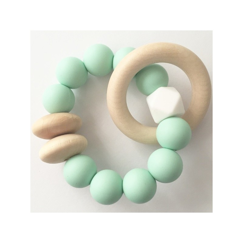 Tiny Teethers Beechwood Teether Ring - Mint - Biome Eco Stores