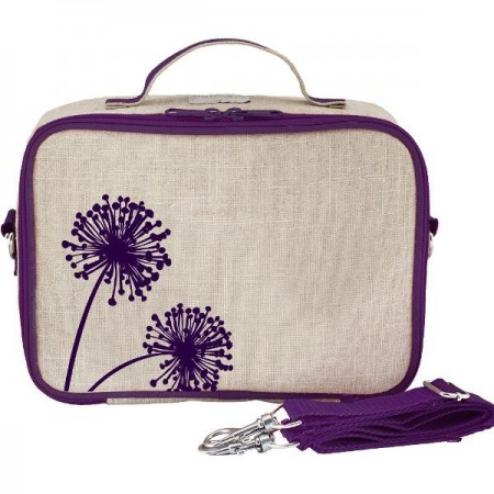 SoYoung Raw Linen Insulated Lunch Box - Purple Dandelion