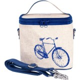 SoYoung large insulated cooler bag - blue bicycle raw linen