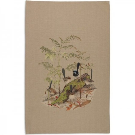 The Linen Press Splendid Blue Wren Tea Towel by Meg Cole