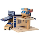 Click Clack wood puzzle garage - police station NEW