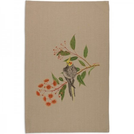 The Linen Press Cockatiel Tea Towel by Meg Cole