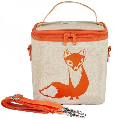 SoYoung Large Insulated Cooler Bag - Orange Fox Raw Linen