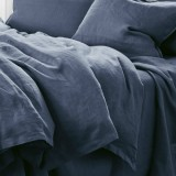 Pure Linen Double Quilt Cover Set - Deep Sea